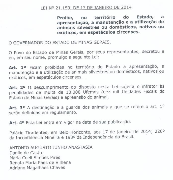 Lei 21.159-2014 - Príbe uso de animais